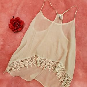 Racer back tank top with lace trim